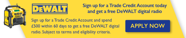 Open a Trade Credit Account today and get a FREE DEWALT Digital Radio worth £330