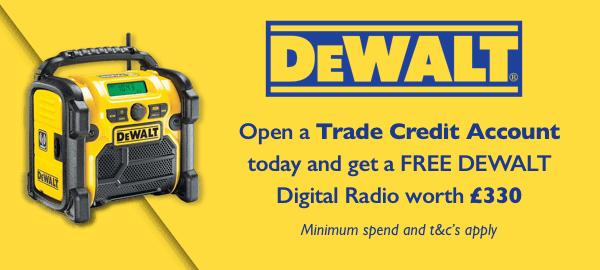 Open a Trade Credit Account to Win a Dewalt Digital Radio worth £330